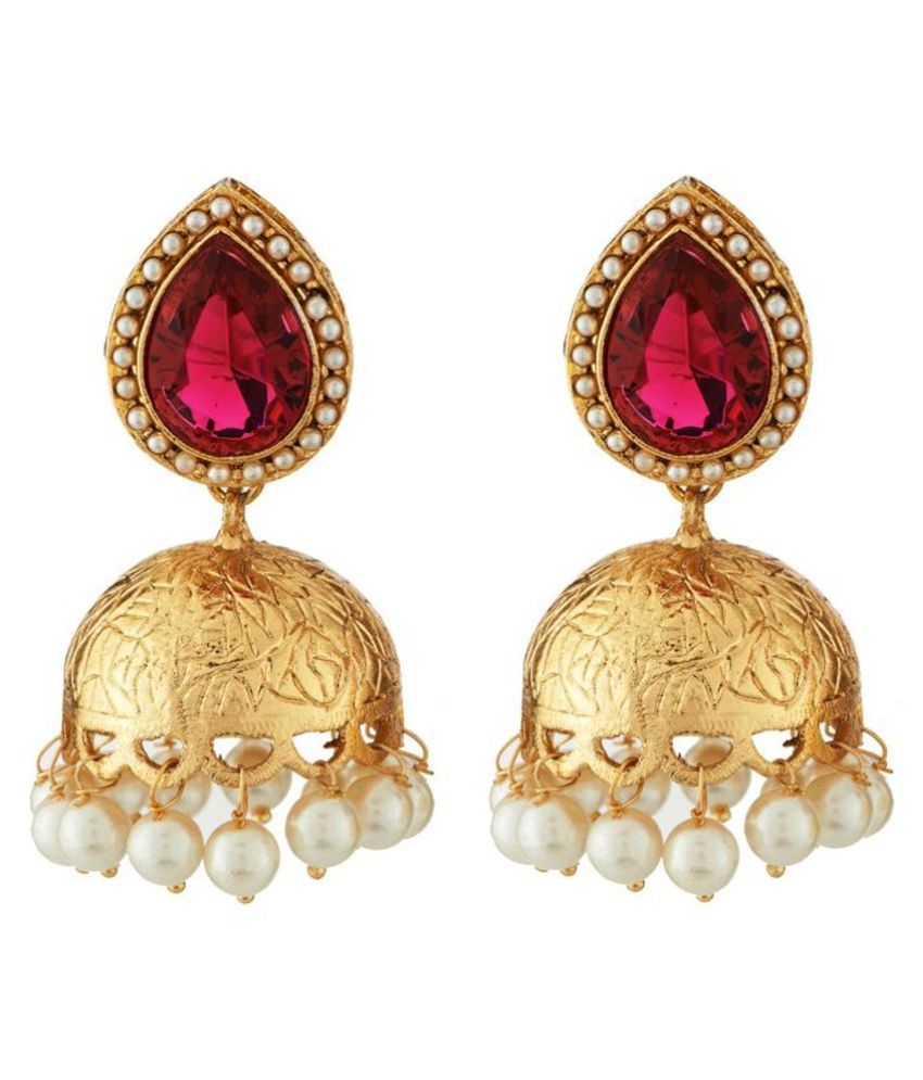 Art Nouveau Brass American diamonds Studded Golden Coloured Earrings