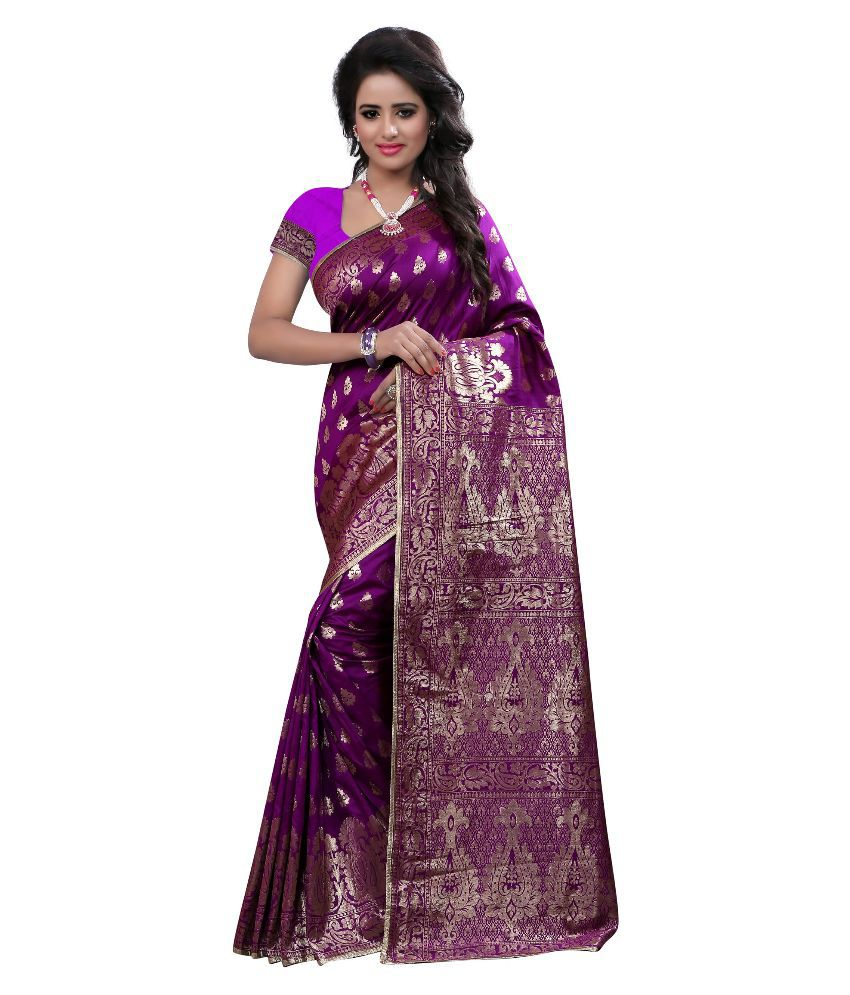 Great Villa Purple Cotton Silk Saree