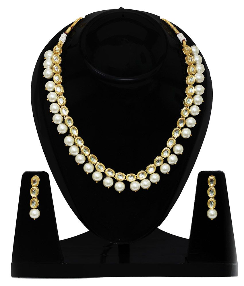 Penny Jewels Alloy Oxidised Pearls Studded Gold Coloured Necklaces Set