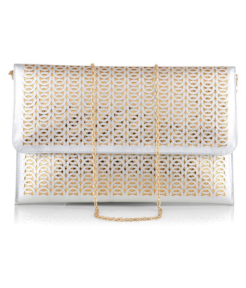 Stol'n Silver Faux Leather Clutch