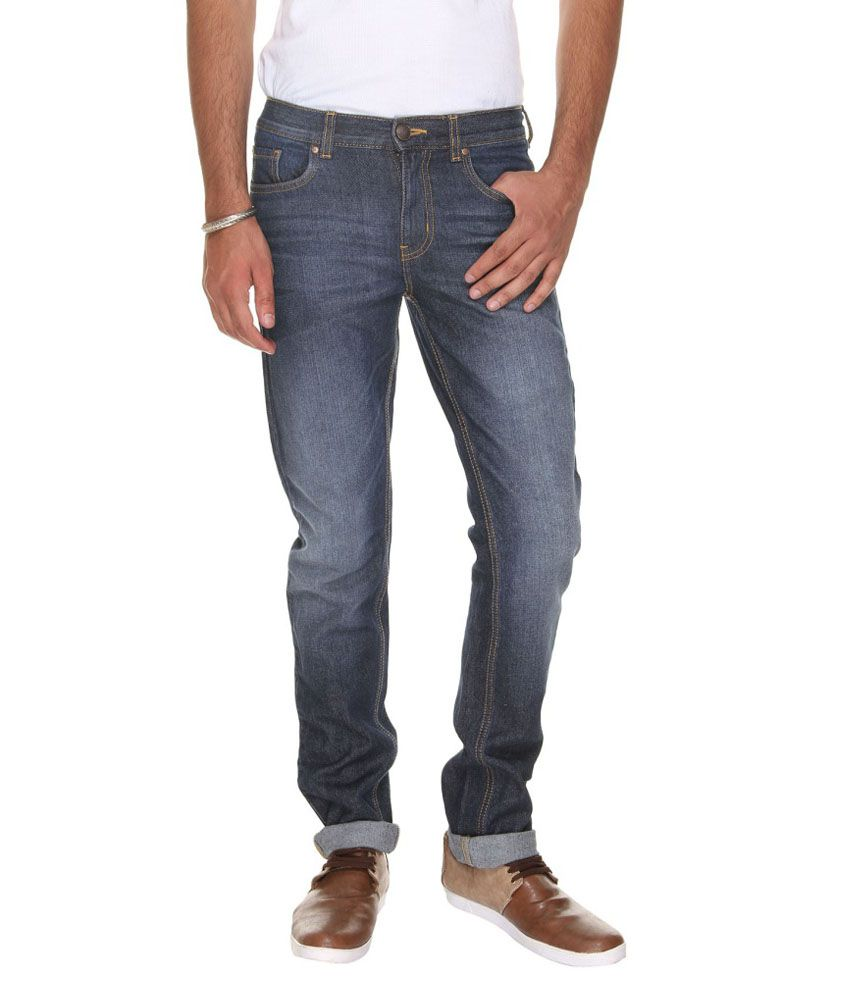 VUDU Navy Slim Fit Faded Jeans