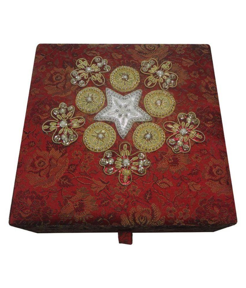 Avinash Handicrafts Wood Studded Red Coloured Jewellery Box