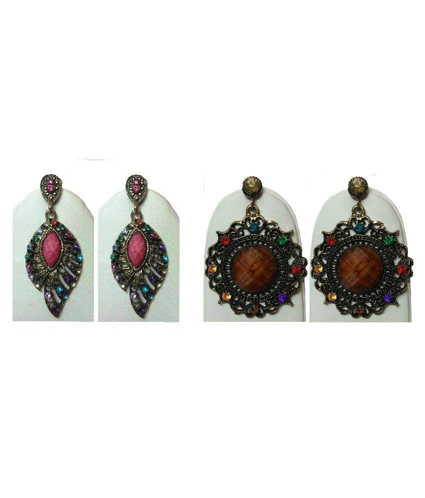 Springs Alloy 24 kt Gold Plating Stones Studded Multi Coloured Earrings - Pack of 2