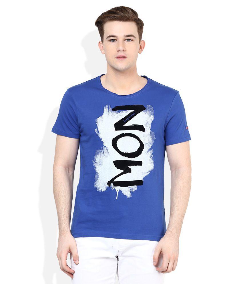 Being Human Blue Half Sleeves Printed T-Shirt