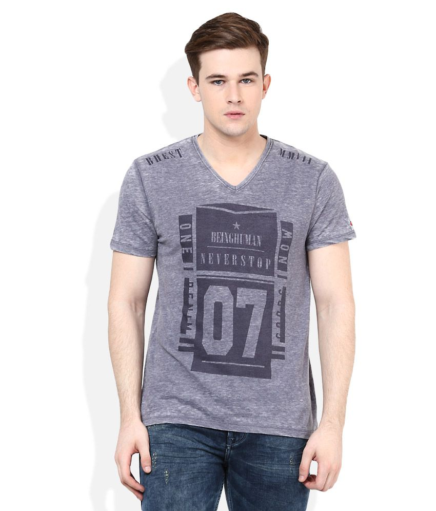 Being Human Grey Half Sleeves Printed T-Shirt