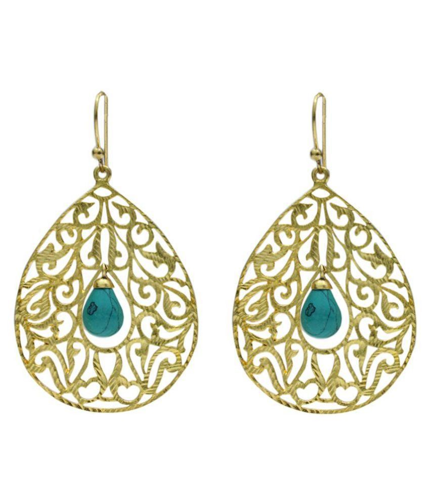 Eighth Fold Gold Brass Drop Earring