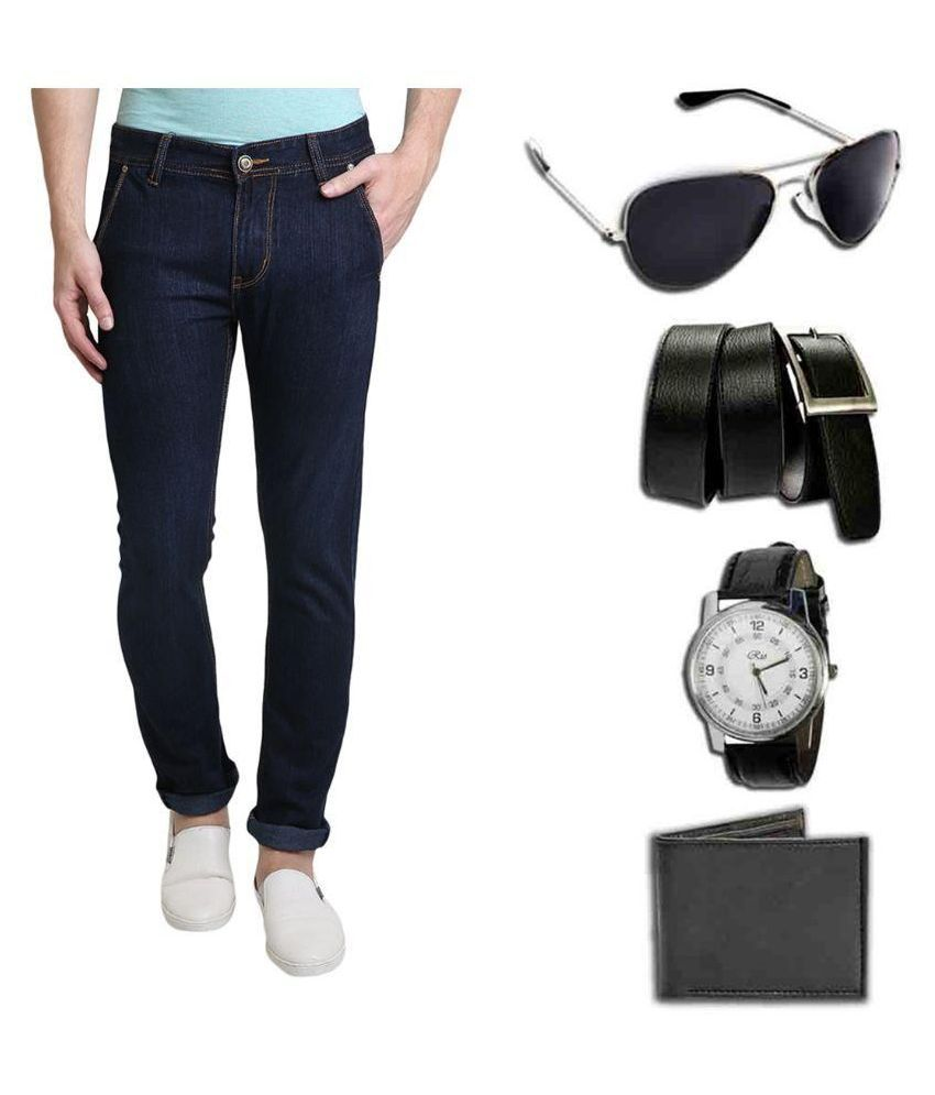 Denim Cafe Navy Slim Fit Solid Jeans with Watch,Sunglass,Wallet and Belt