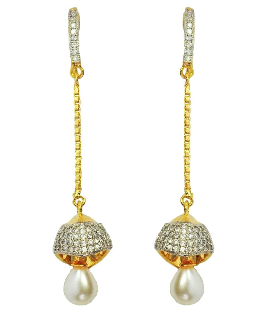 Enzy Alloy Gold Plating American diamonds Studded Gold Coloured Earrings
