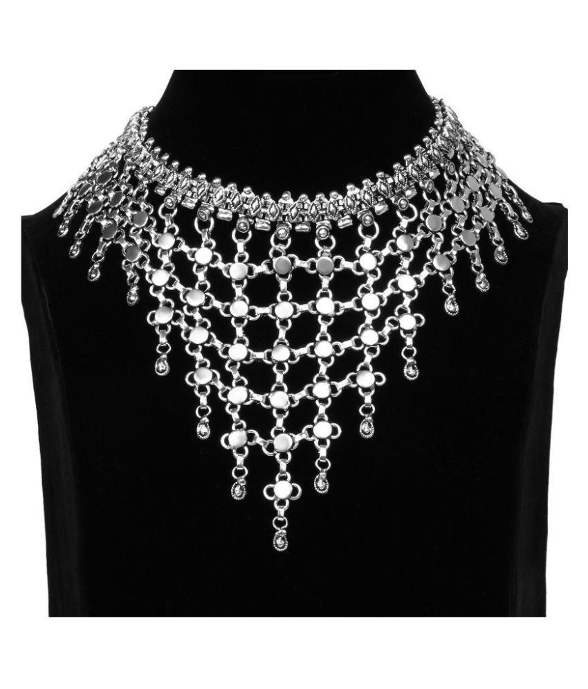 Johareez Silver Alloy Necklace