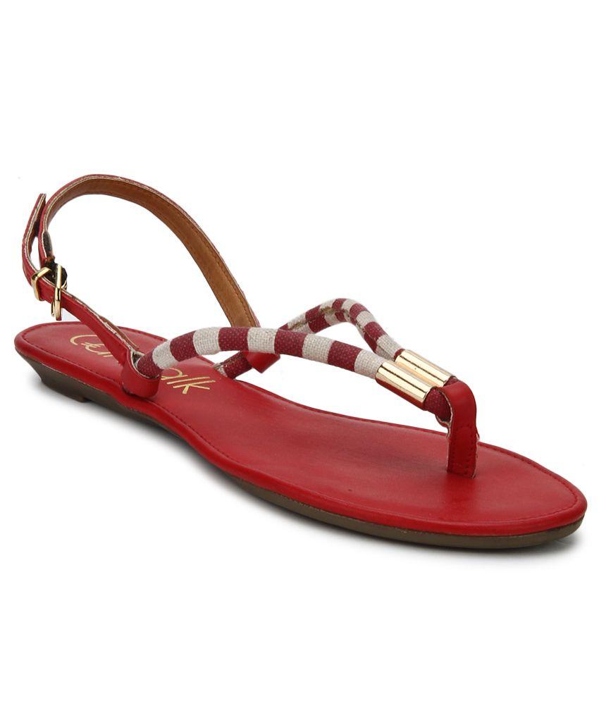 Catwalk Red Flat Sandals