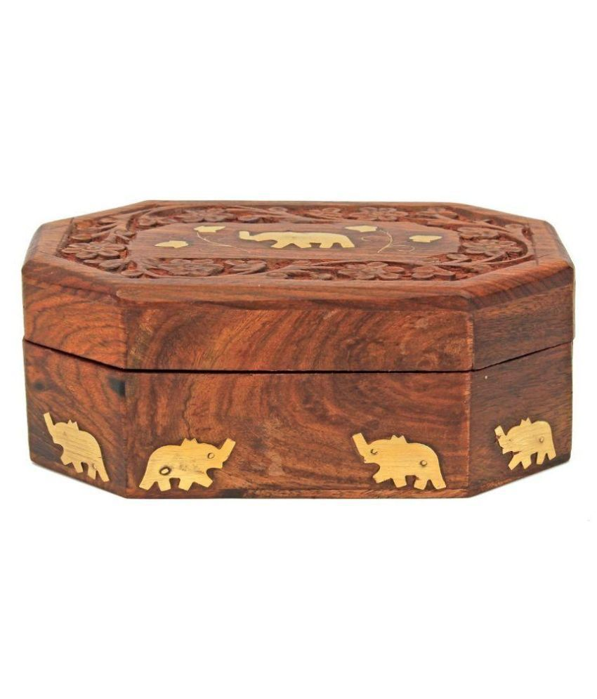 Limra handicrafts Wood Studded Brown Coloured Jewellery Box
