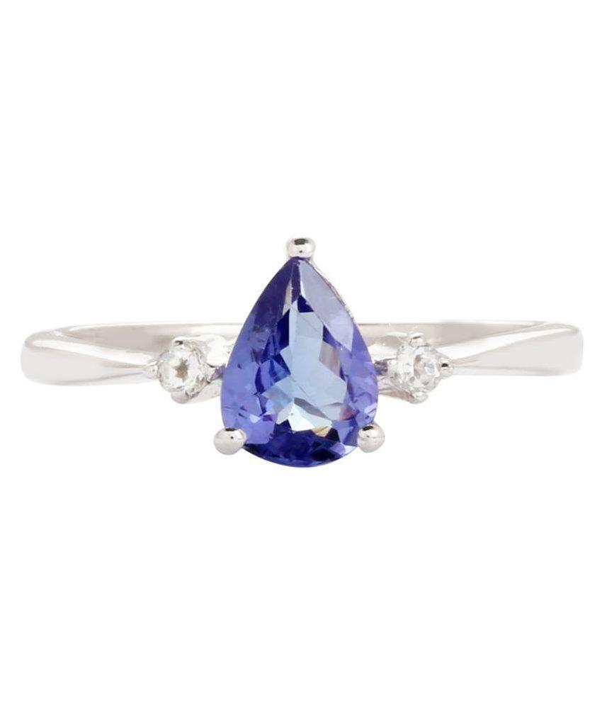 Shine Jewel 92.5 Sterling Silver Tanzanite Studded Ring