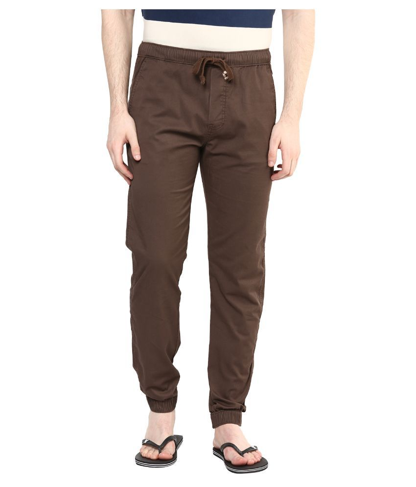 Wear Your Mind Brown Regular Fit Jogger Jeans