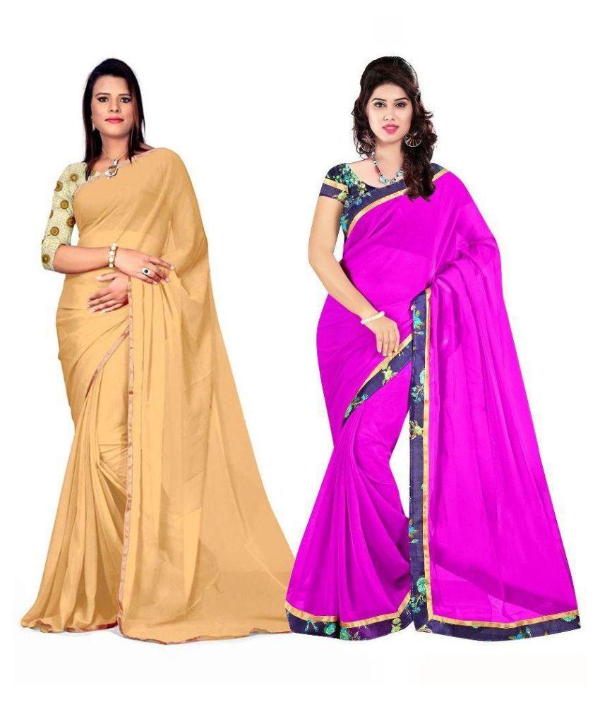 Aabha N Alia Multicoloured Chiffon Saree Combos