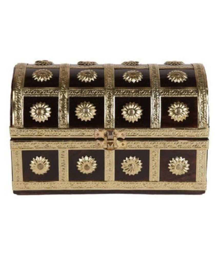 Antiqua V Group Wood Studded Gold Coloured Jewellery Box