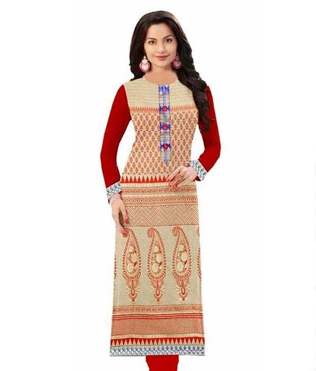 Hariom Fashion Hub Beige Cotton Straight Kurti