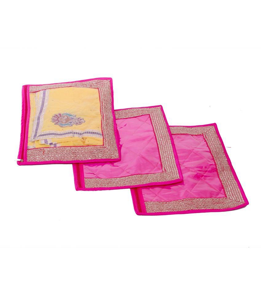 Kuber Industries Pink Single Packing Saree Cover Set of 3 Pcs (Designer Lace)