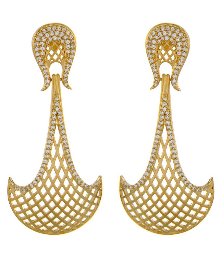 Kushals Fashion Jewellery Alloy Gold Plating Studded Golden Coloured Earrings