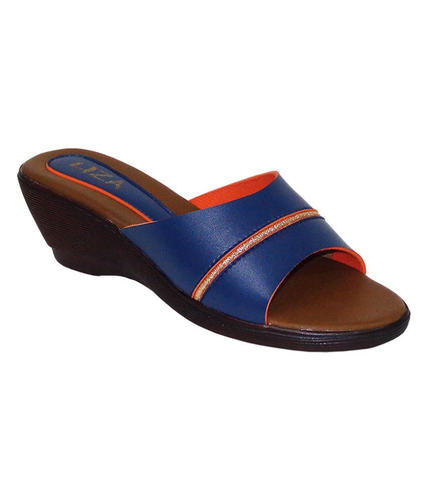 Liza Blue Wedges Heels