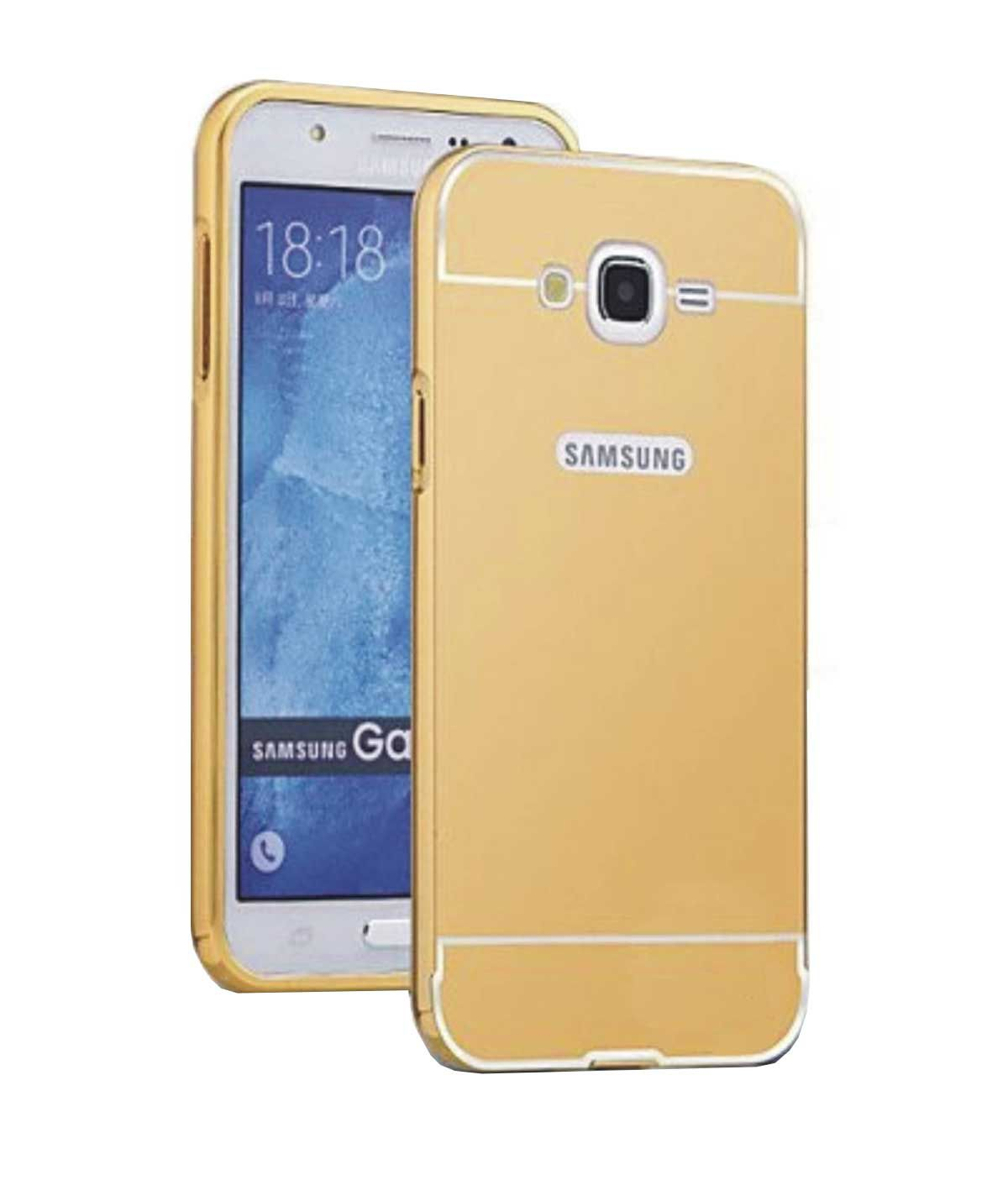 newest 5367e dc1e6 TBZ Metal Bumper Acrylic Mirror Back Cover Case for Samsung Galaxy J7 2016  -Golden