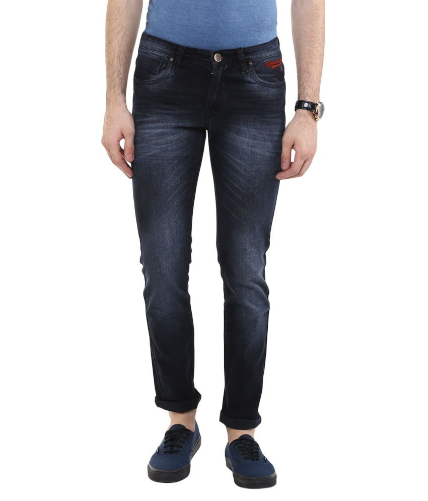 Urban Navy Blue Slim Fit Faded Jeans