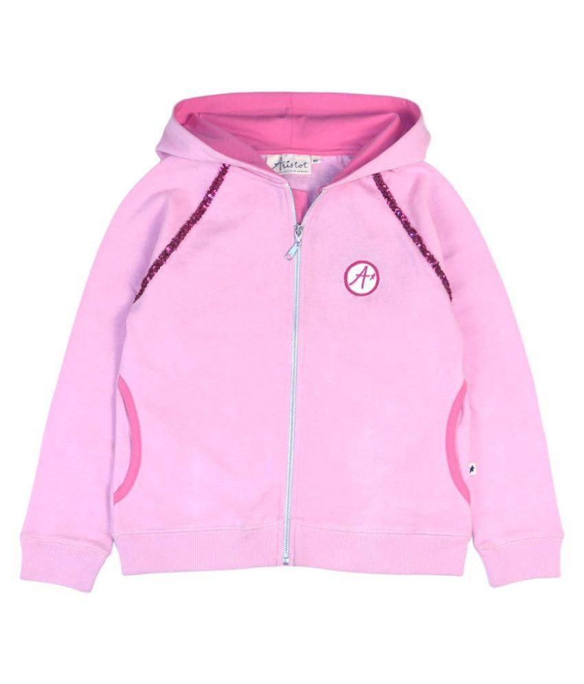 Aristot Pink Cotton Sweatshirt for kids girls