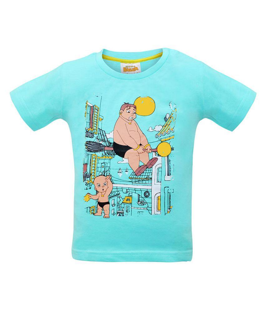 Chhota Bheem Turquoise Cotton baby tshirts for Boys