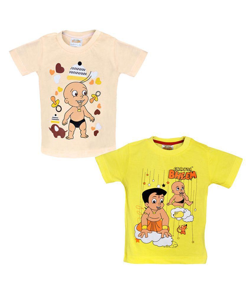 Chhota Bheem Multicolour Cotton T Shirt - Pack of 2