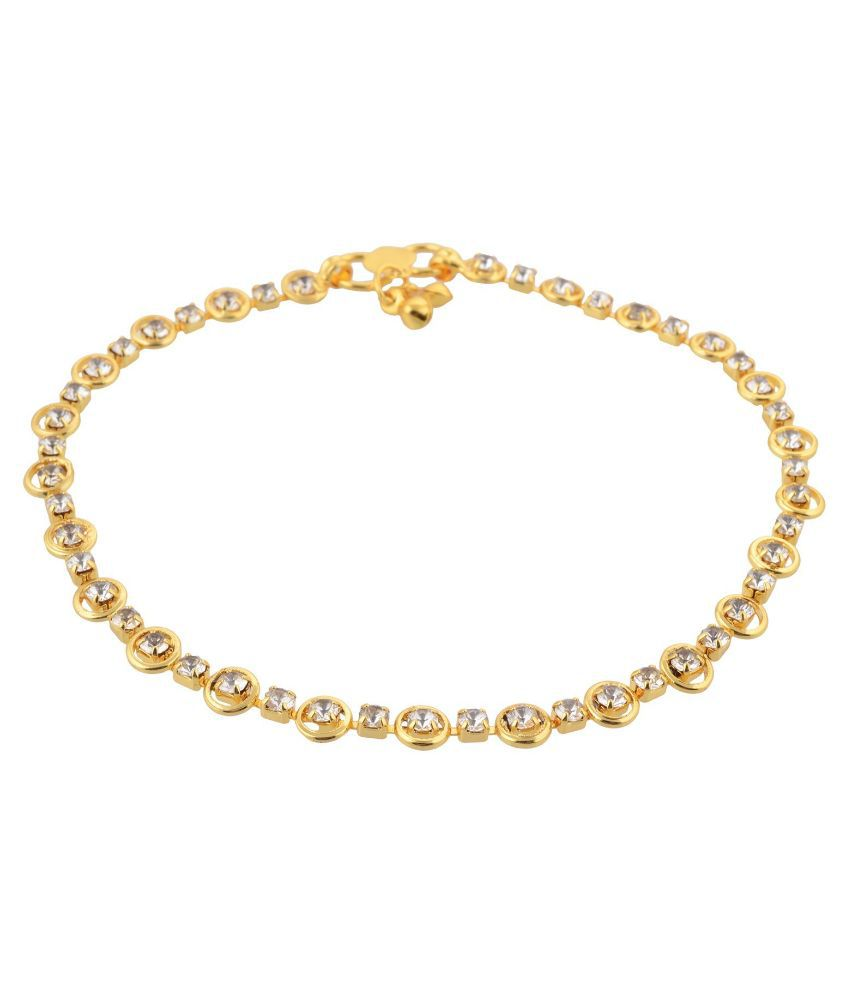 Namo Alloy Rhodium Plating Cubiz Zirconia Studded Gold Coloured Pair of Anklets