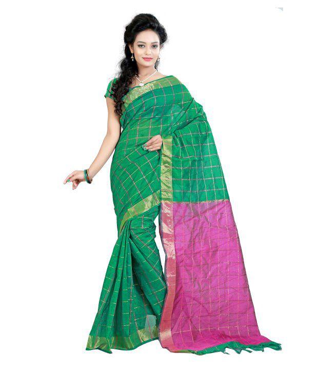 Vedant Lifestyle Green Cotton Saree