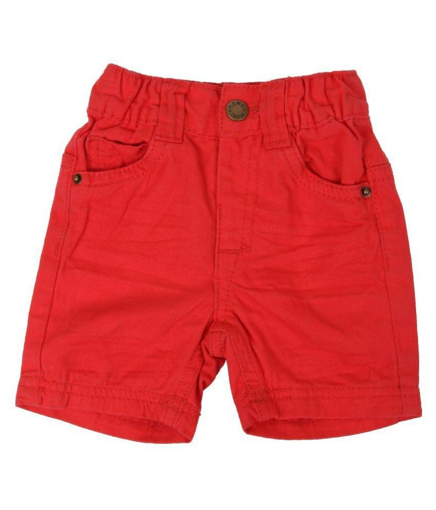 Innocent Kids Red Cotton Blend Shorts