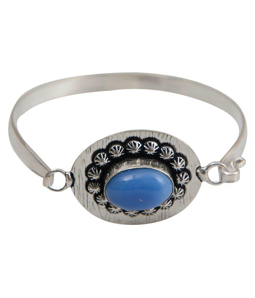 Taj Pearl Brass Silver Plating Studded Silver Coloured Bracelet