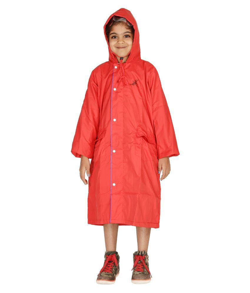 Zeel Red Viscose Rainwear for Girls