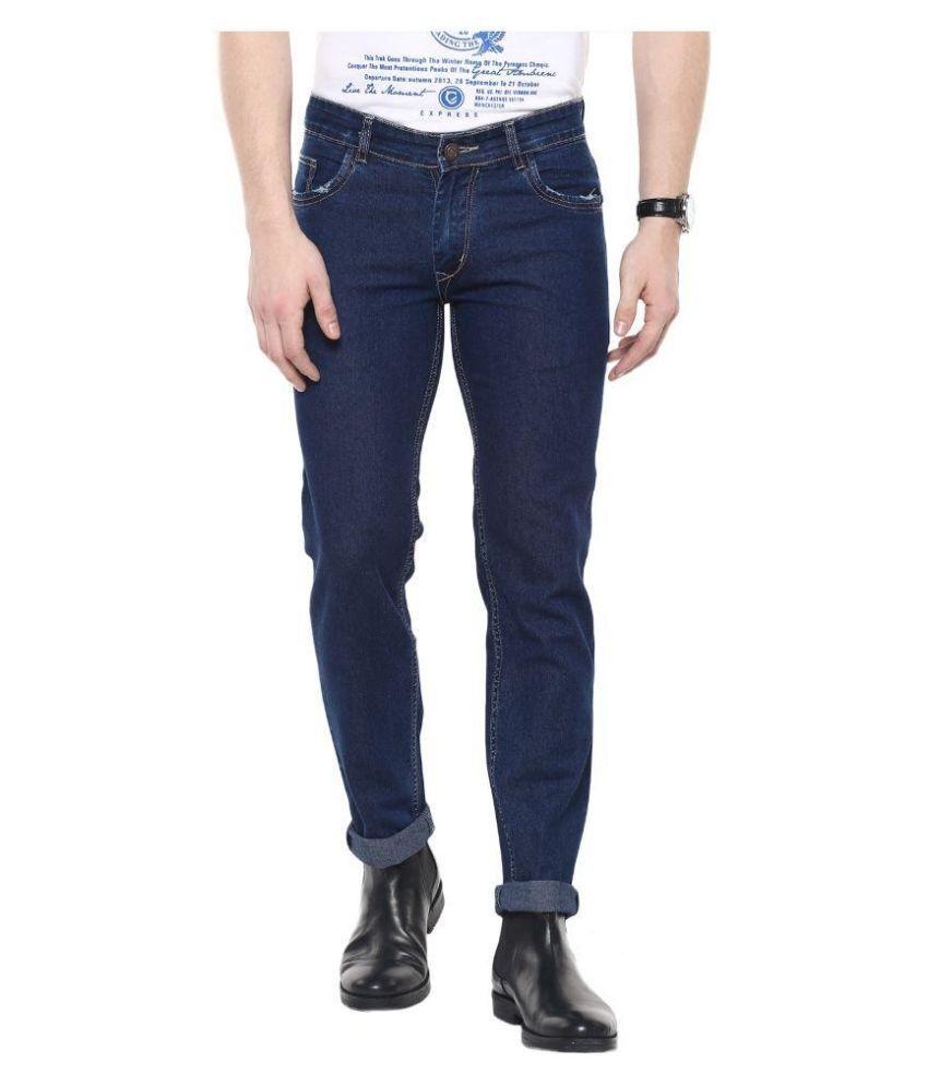 COBB Navy Slim Fit Solid Jeans