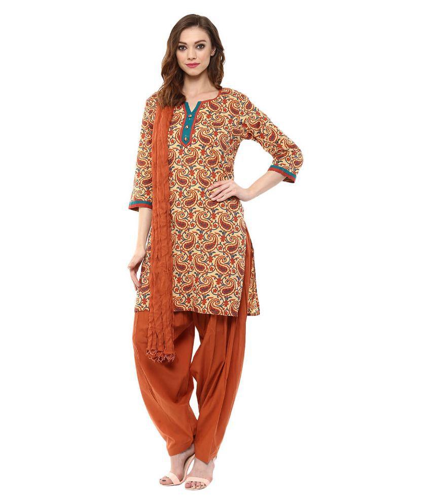 Jaipur Kurti Brown Cotton Straight Fit Stitched Salwar Suit