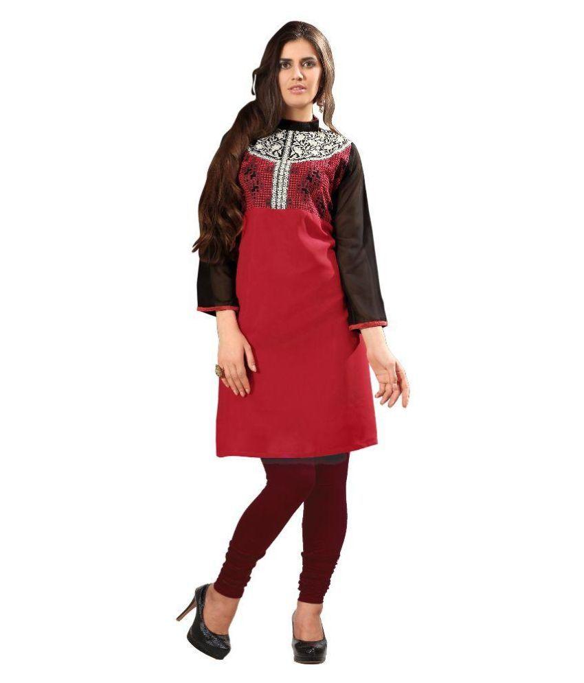 V More Fabric Red Georgette A-line Kurti