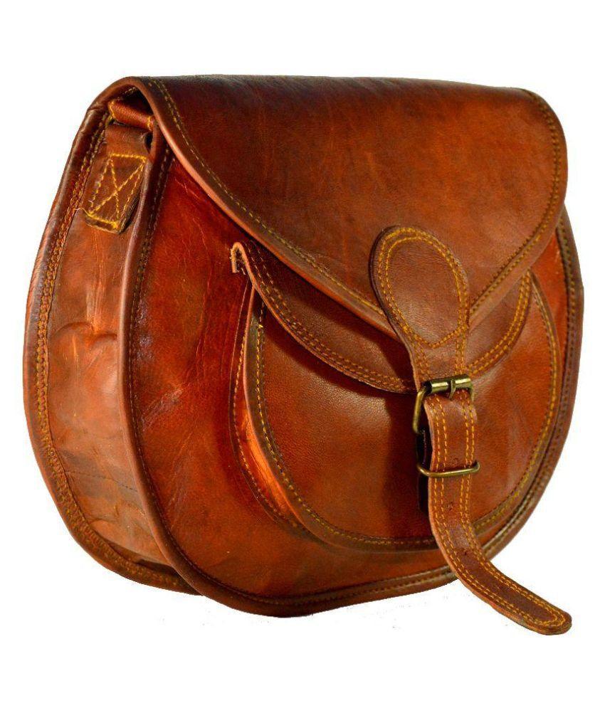 Adimani Brown Pure Leather Sling Bag - Buy Adimani Brown Pure ...