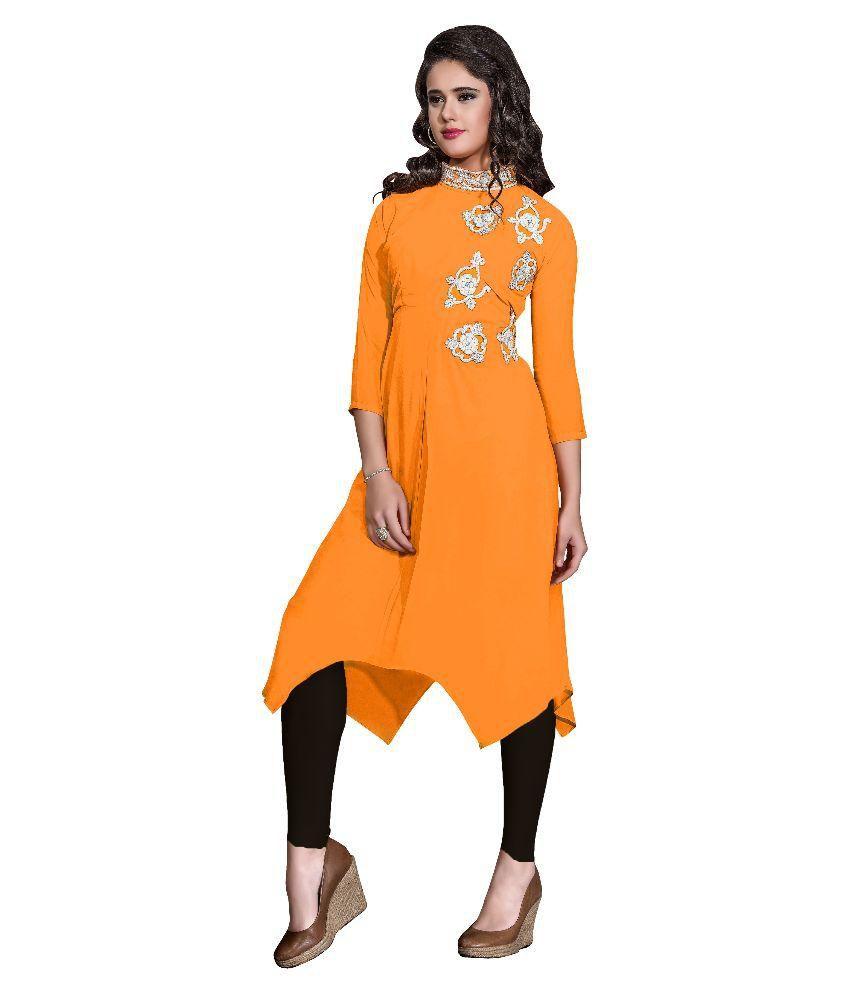 V More Fabric Orange Georgette Asymmetrical Hemline Kurti