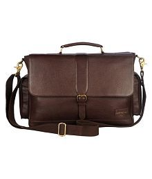 Justanned BUCKLE SNAP CLOSURE MEN BRIEFCASE BAG 0 Brown Leather 5 Travel Briefcase