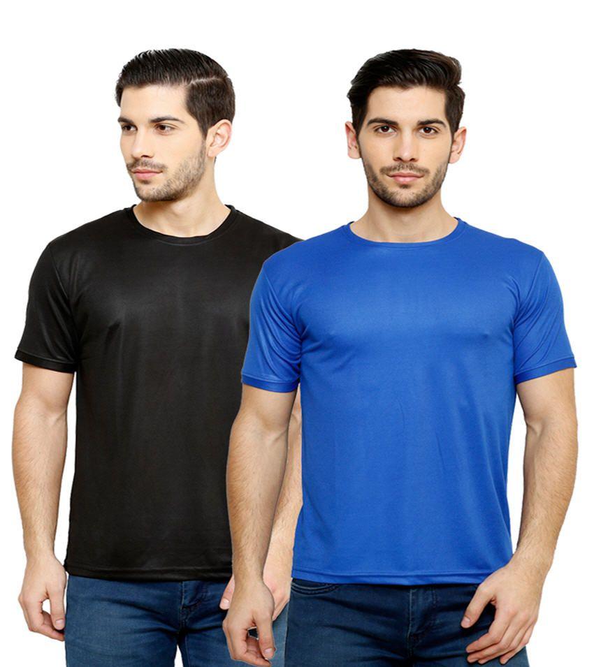 Grand Bear Dry-Fit Fitness T-Shirt Combo - Black, Royal Blue