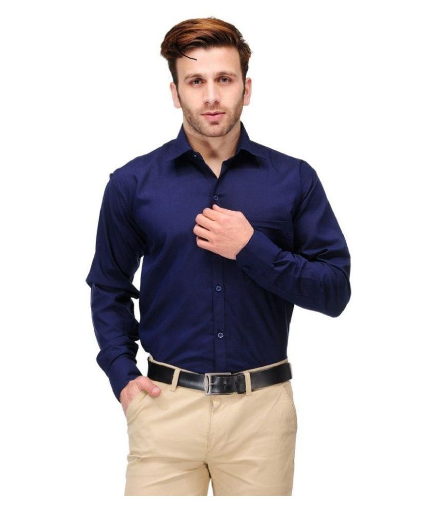 Men Navy Formal Slim Fit Shirt discount offer