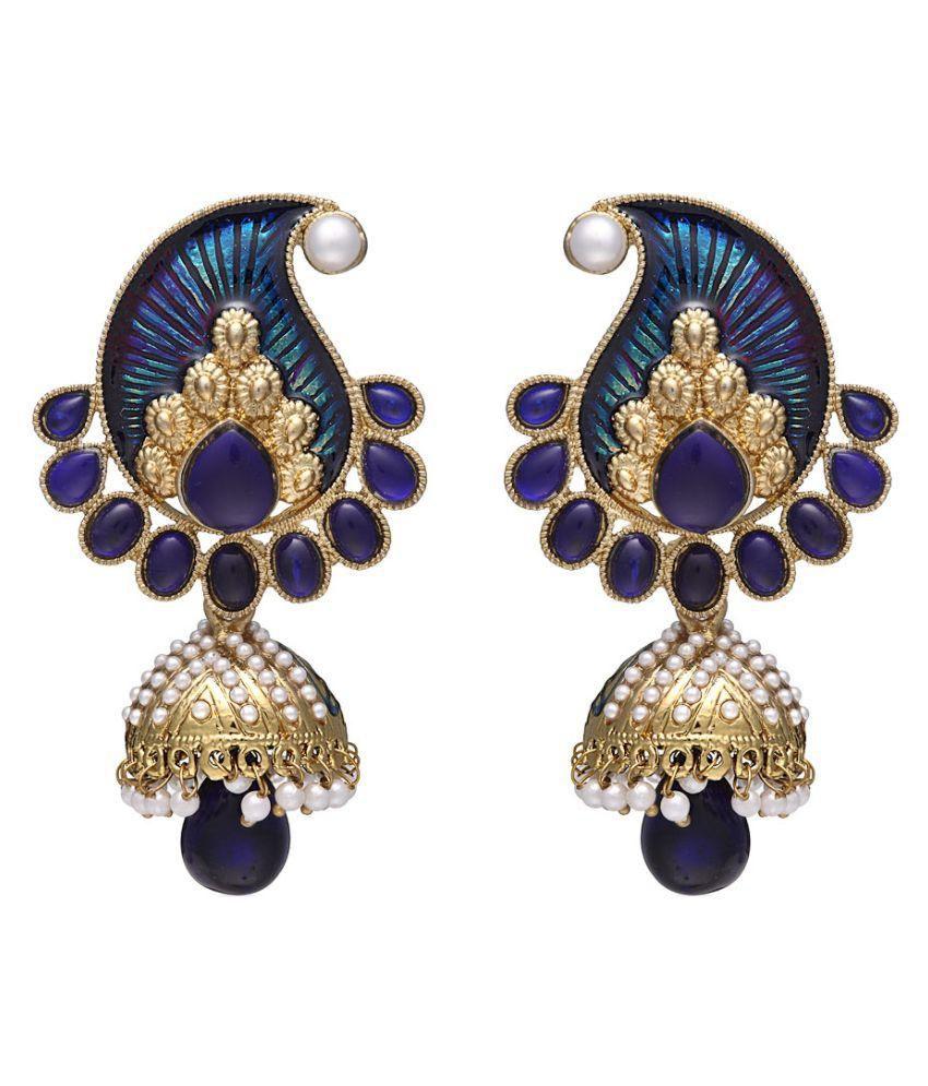 Zaveri Pearls Blue Jhumki Earring