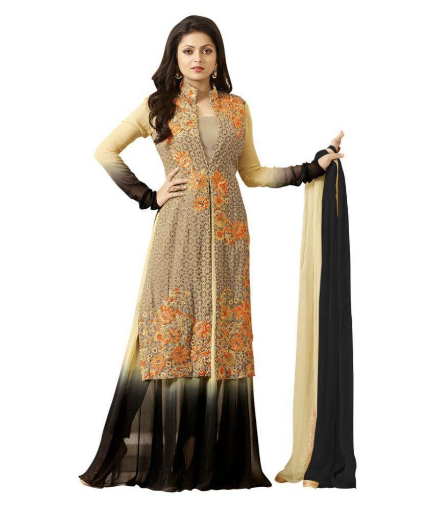 96ad200f0c Mastani Black and Beige Georgette Pakistani Suits Unstitched Dress Material  - Buy Mastani Black and Beige Georgette Pakistani Suits Unstitched Dress ...