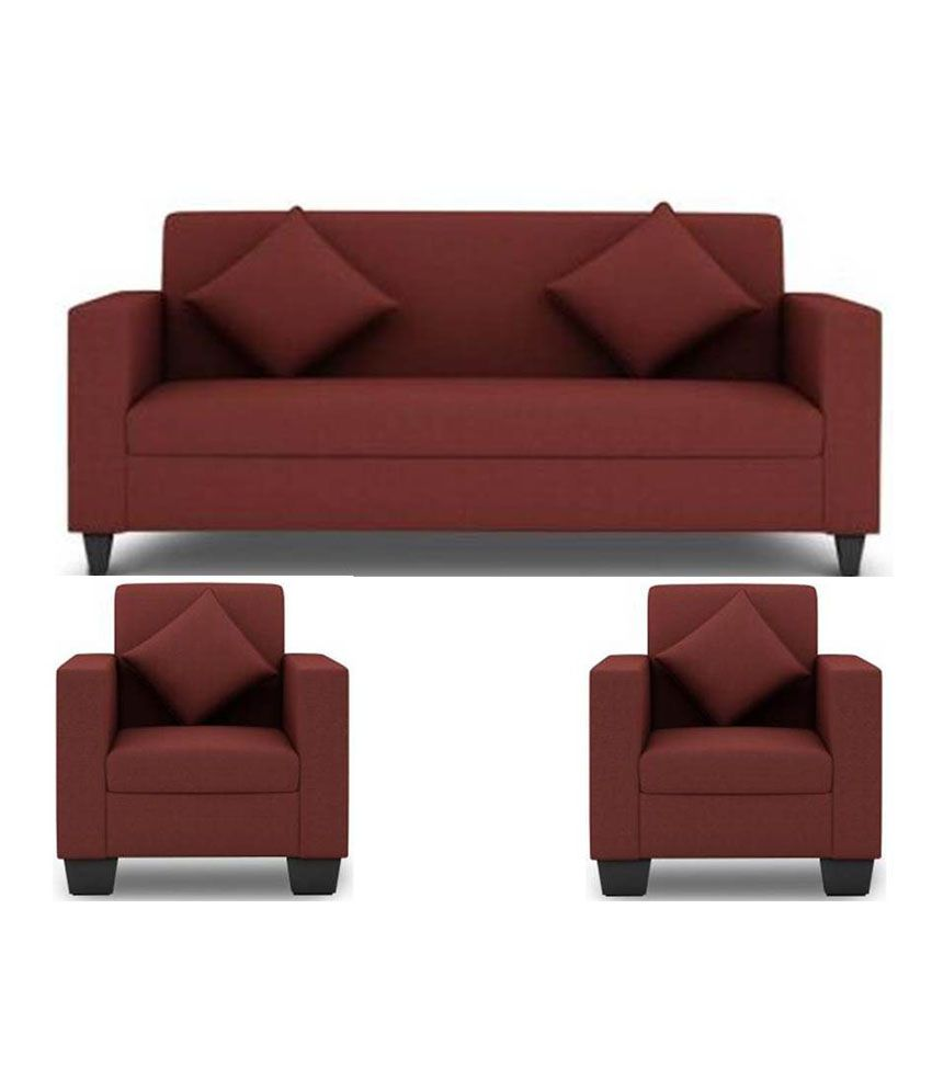 westido 5 seater sofa set in maroon upholstery with cushions buy rh snapdeal com