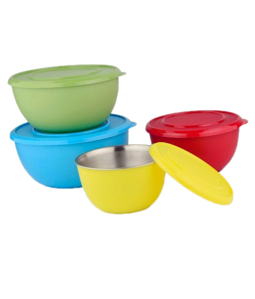 Liefde Microwave Safe Stainless Steel Plastic Coated Serving Bowl Set Of 4