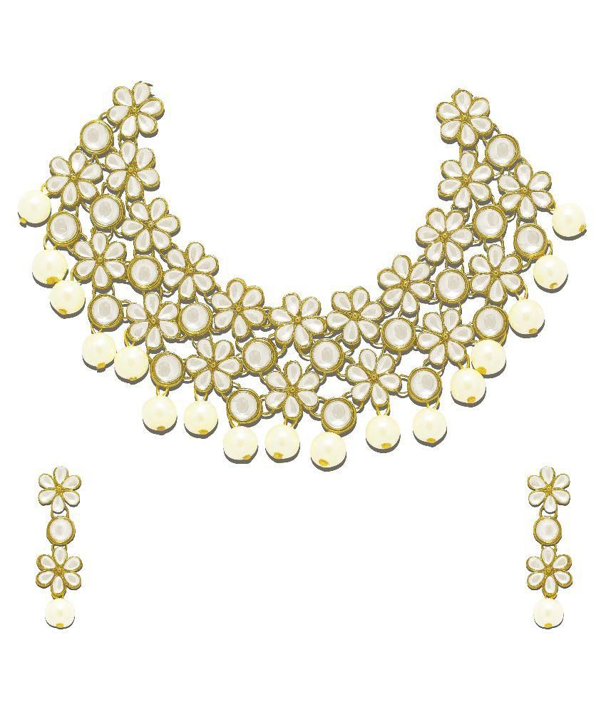 Zaveri Pearls White Alloy Necklace Set