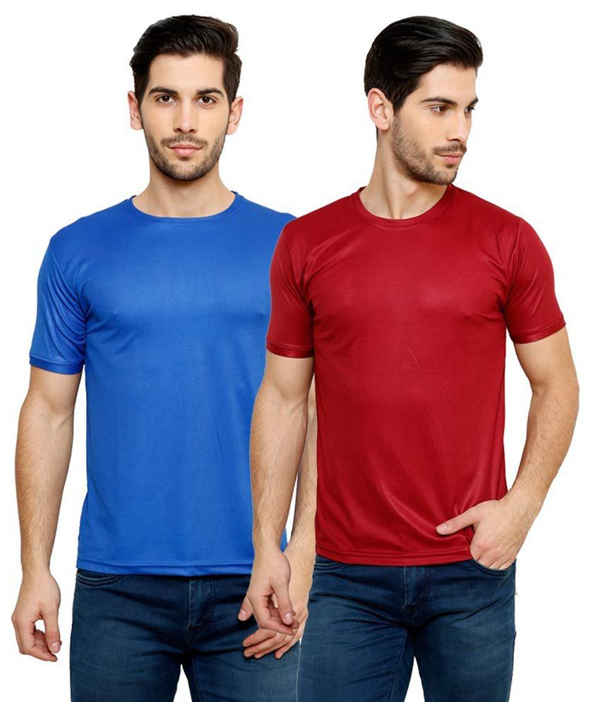 Grand Bear Dry-Fit Fitness T-Shirt Combo - Blue, Maroon