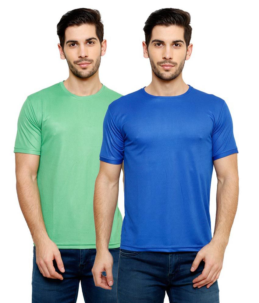 Grand Bear Dry-Fit Fitness T-Shirt Combo - Blue, Green