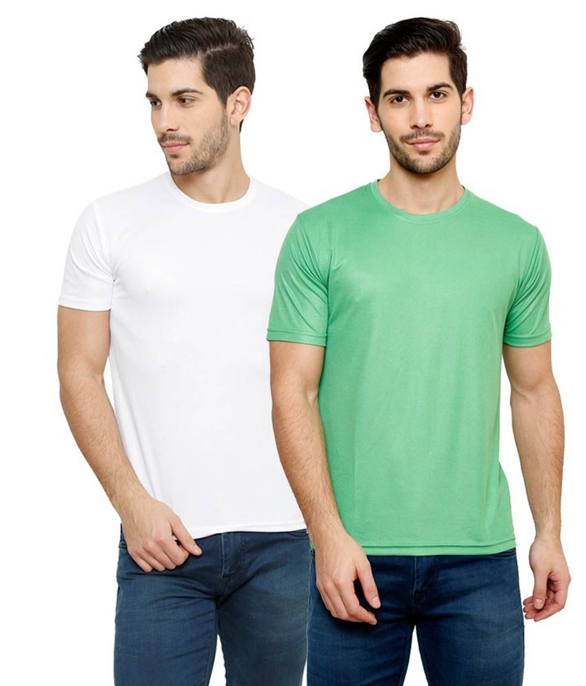Grand Bear Dry-Fit Fitness T-Shirt Combo - White, Green