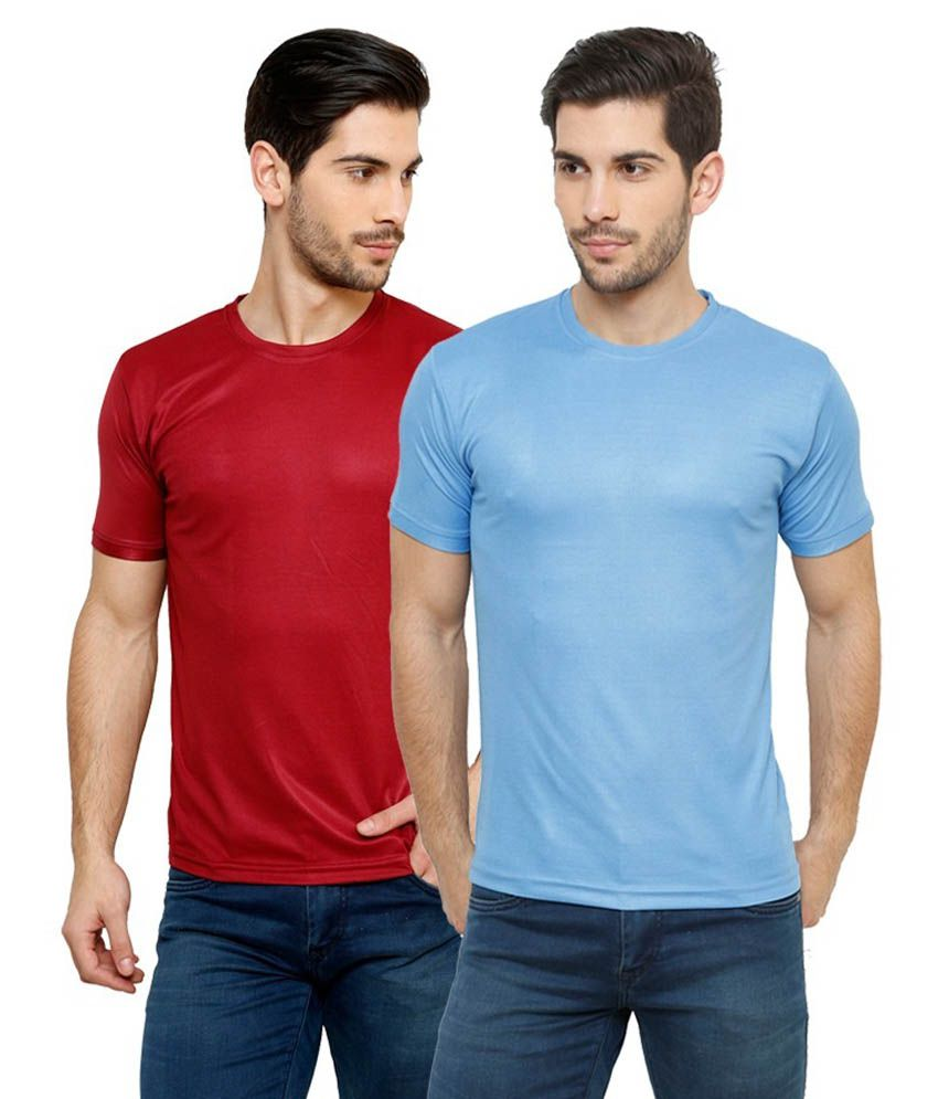 Grand Bear Dry-Fit Fitness T-Shirt Combo - Maroon, Sky